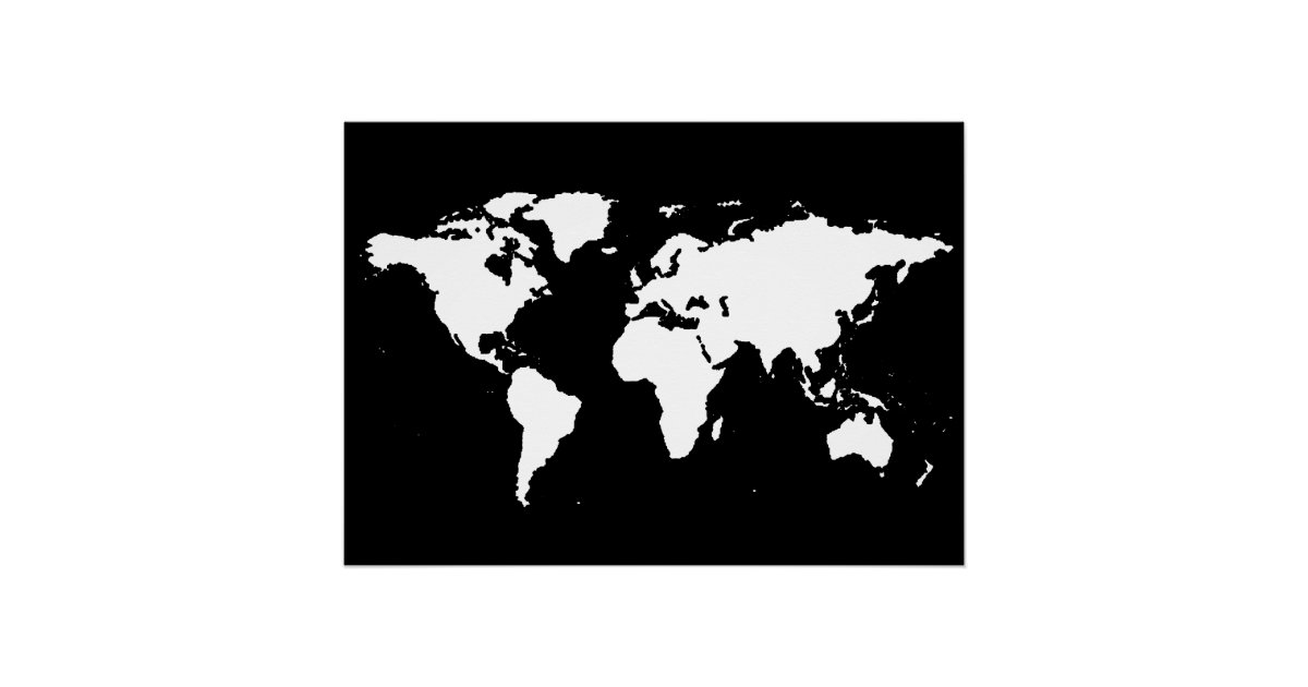 Black And White World Map Poster Zazzle