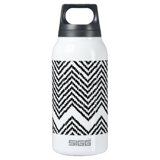 Black and White Woven Chevron Insulated Water Bottle
