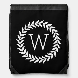 Black And White Wreath Drawstring Backpack