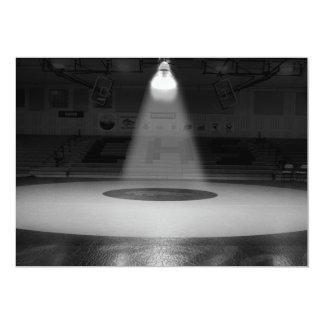 Black and white wrestling mat card