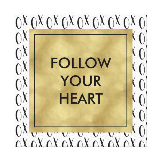 Black and White XOXO Follow Your Heart Canvas Print