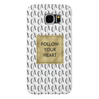 Black and White XOXO Follow Your Heart Samsung Galaxy S6 Case