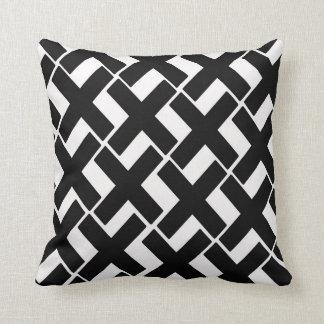 Black and White Xs Throw Pillow