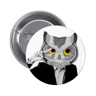 Black and white yellow eye owl 2 inch round button