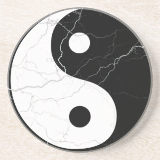 Black and White Yin and Yang Drink Coaster