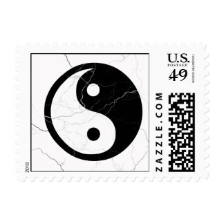 Black and White Yin and Yang Postage Stamp