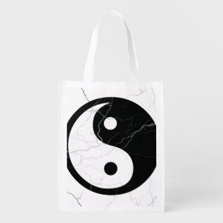 Black and White Yin and Yang Reusable Grocery Bag