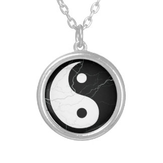 Black and White Yin and Yang Silver Plated Necklace