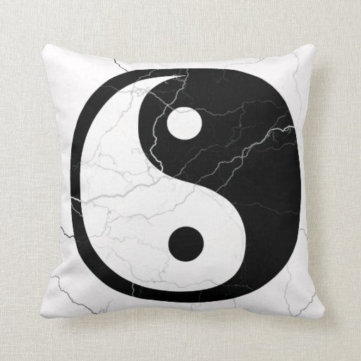 Black and White Yin and Yang Throw Pillow