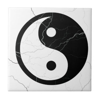 Black and White Yin and Yang Tile