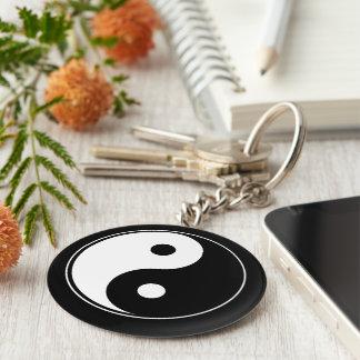 Black and White - Yin & Yang Basic Round Button Keychain