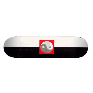 Black and White Yin Yang Cool Bro Man Woman Red Skateboard