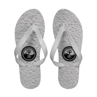 Black and White Yin Yang Family Tree Sandals