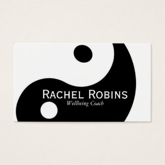 Black and white yin yang health and wellbeing business card