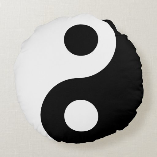 Black and White Yin Yang Round Pillow