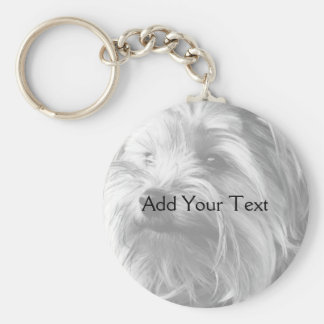 Black and White Yorkshire Terrier Yorkie Key Chain