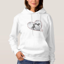BLACK AND WHITE ZEBRA 84 HEART AND PRINT. HOODIE