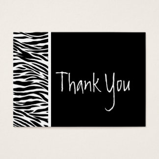 Black and White Zebra and Damask Wedding Thank You Business Card