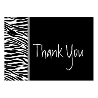 Black and White Zebra and Damask Wedding Thank You Large Business Card