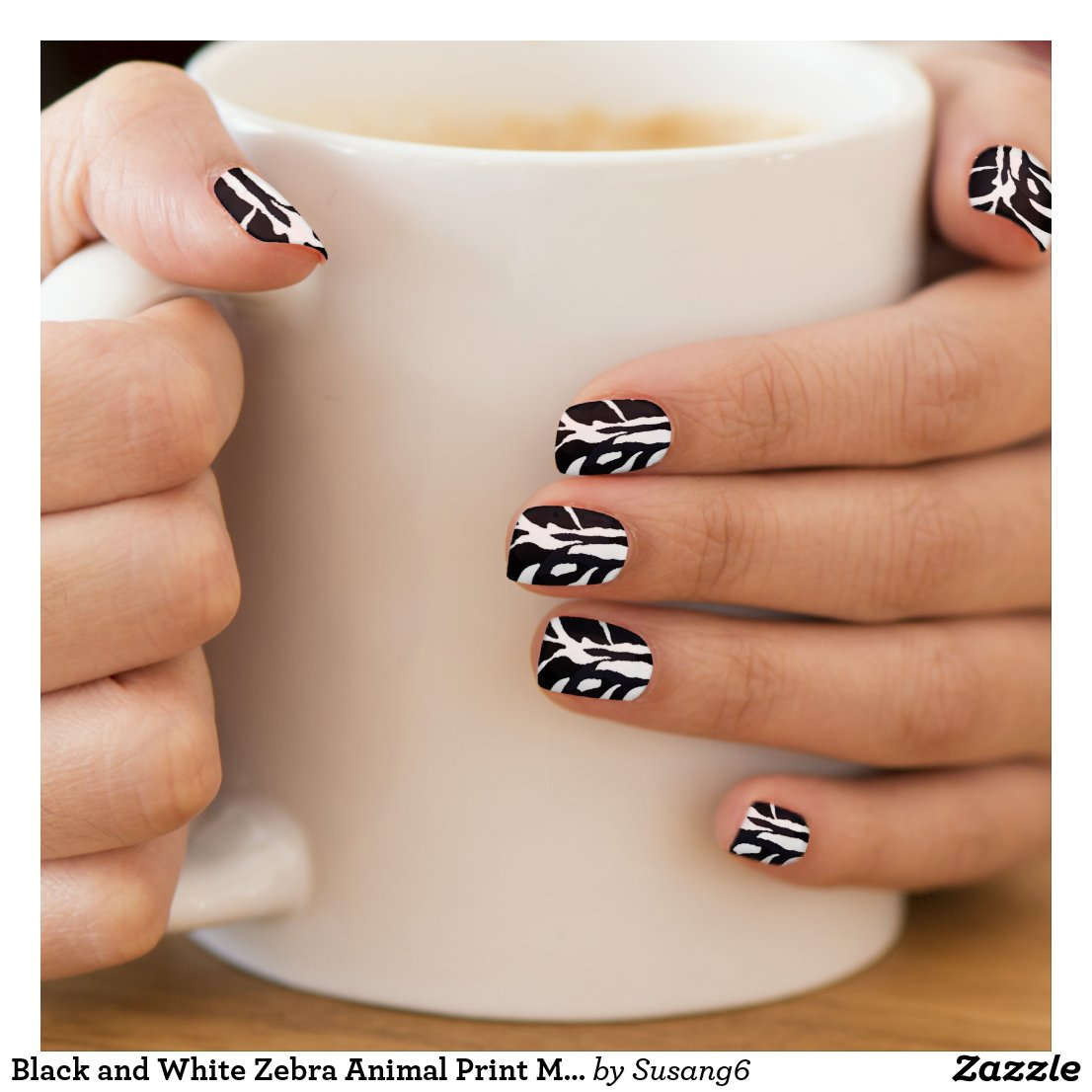 Black and White Zebra Animal Print Minx Nail Art