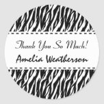 Black and White Zebra Bachelorette Thank You Round Classic Round Sticker