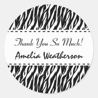 Black and White Zebra Bachelorette Thank You Round Sticker