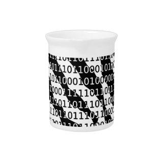 Black and White Zebra Binary Code Drink Pitcher