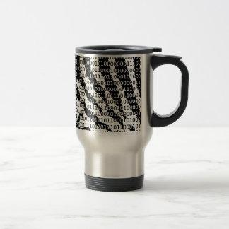 Black and White Zebra Binary Code Travel Mug