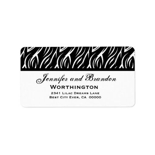 Black And White Label Templates Black and white zebra flame
