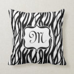 Black and White Zebra Monogram Cushion