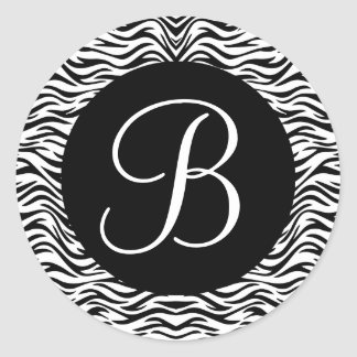 Black and White Zebra Monogram Wedding V02 Classic Round Sticker