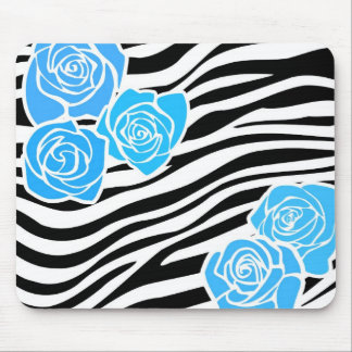 Black and white Zebra pattern + blue roses Mouse Pad