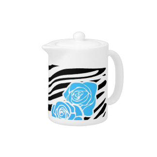 Black and white Zebra pattern + blue roses Teapot