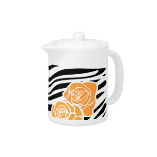 Black and white Zebra pattern + orange roses Teapot