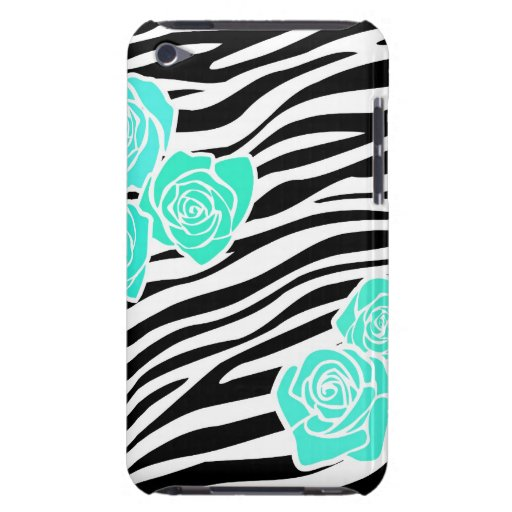 Black and white Zebra pattern + turquoise roses iPod Touch Cases