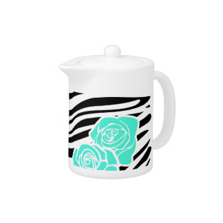 Black and white Zebra pattern + turquoise roses Teapot