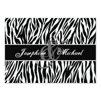 Black and White Zebra Personalized Wedding Card