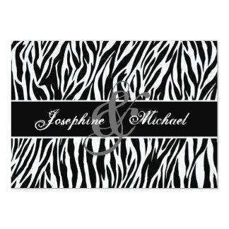 Black and White Zebra Personalized Wedding Card