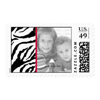 Black and White Zebra Photo Template Postage
