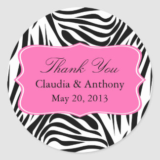 Black and White Zebra Print and Hot Pink Thank You Classic Round Sticker