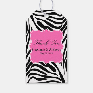 Black and White Zebra Print and Hot Pink Thank You Pack Of Gift Tags