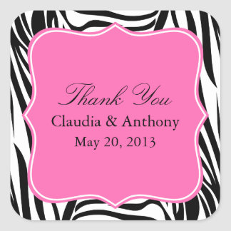 Black and White Zebra Print and Hot Pink Thank You Square Sticker