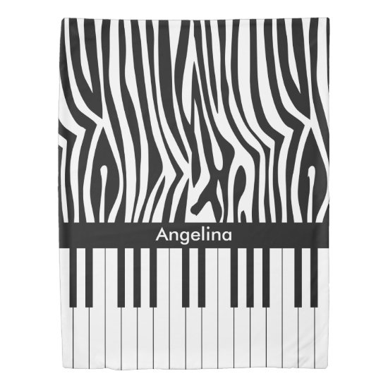 Black and white Zebra print and Piano collection Duvet Cover