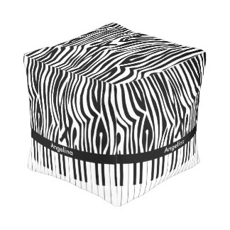 Black and white Zebra print and Piano collection Pouf