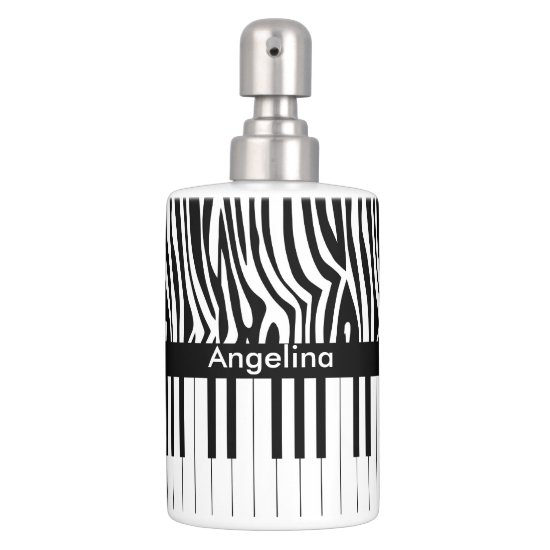 Black and white Zebra print and Piano collection Soap Dispenser & Toothbrush Holder