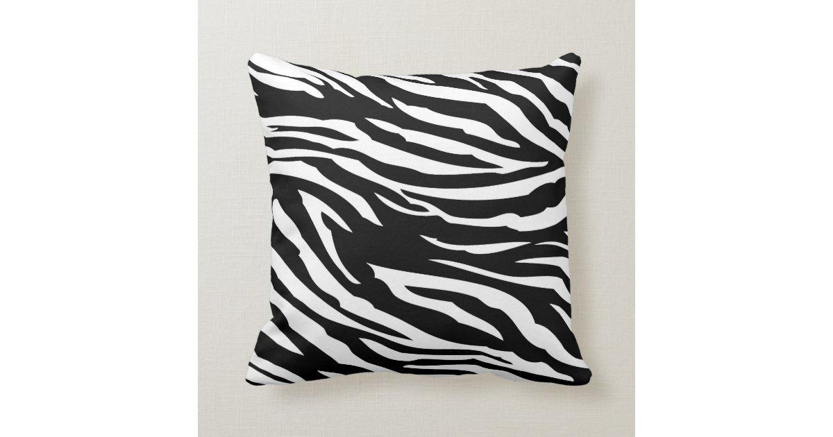 Black And White Zebra Throw Pillows : Black and White Zebra Print Couch Throw Pillow Zazzle
