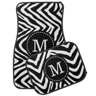 Black and White Zebra Print Custom Monogram Car Floor Mat
