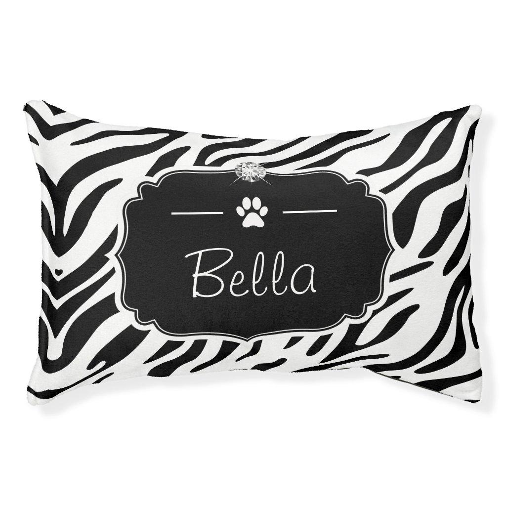 Black White Zebra Custom Monogram Name Pet Bed