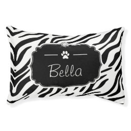Black and White Zebra Print Custom Monogram Name Pet Bed