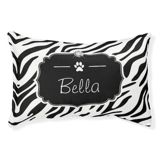 Black and White Zebra Print Custom Monogram Name Pet Bed